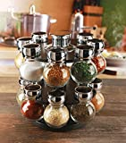 Palais Glassware Tournant Collection, Revolving Countertop Carousel Herb and Spice Rack with 3.5 Oz Glass Jars (Set of 16 Jars)