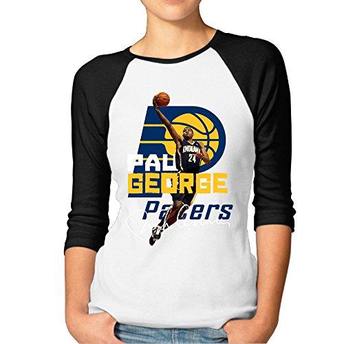 SAXON13 Women's Lovely George 24# Indiana Pacers Raglan Baseball T-Shirt Tops