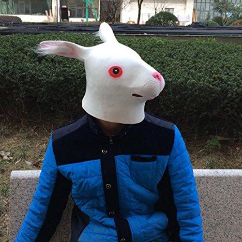 Halloween Masquerade COS Party Carnival Fancy latex Animal Full head mask,Long ear Rabbit (White)