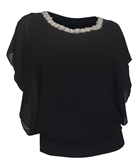 2182409f93a eVogues Plus Size Layered Necklace Accented Blouse Black at Amazon Women s  Clothing store