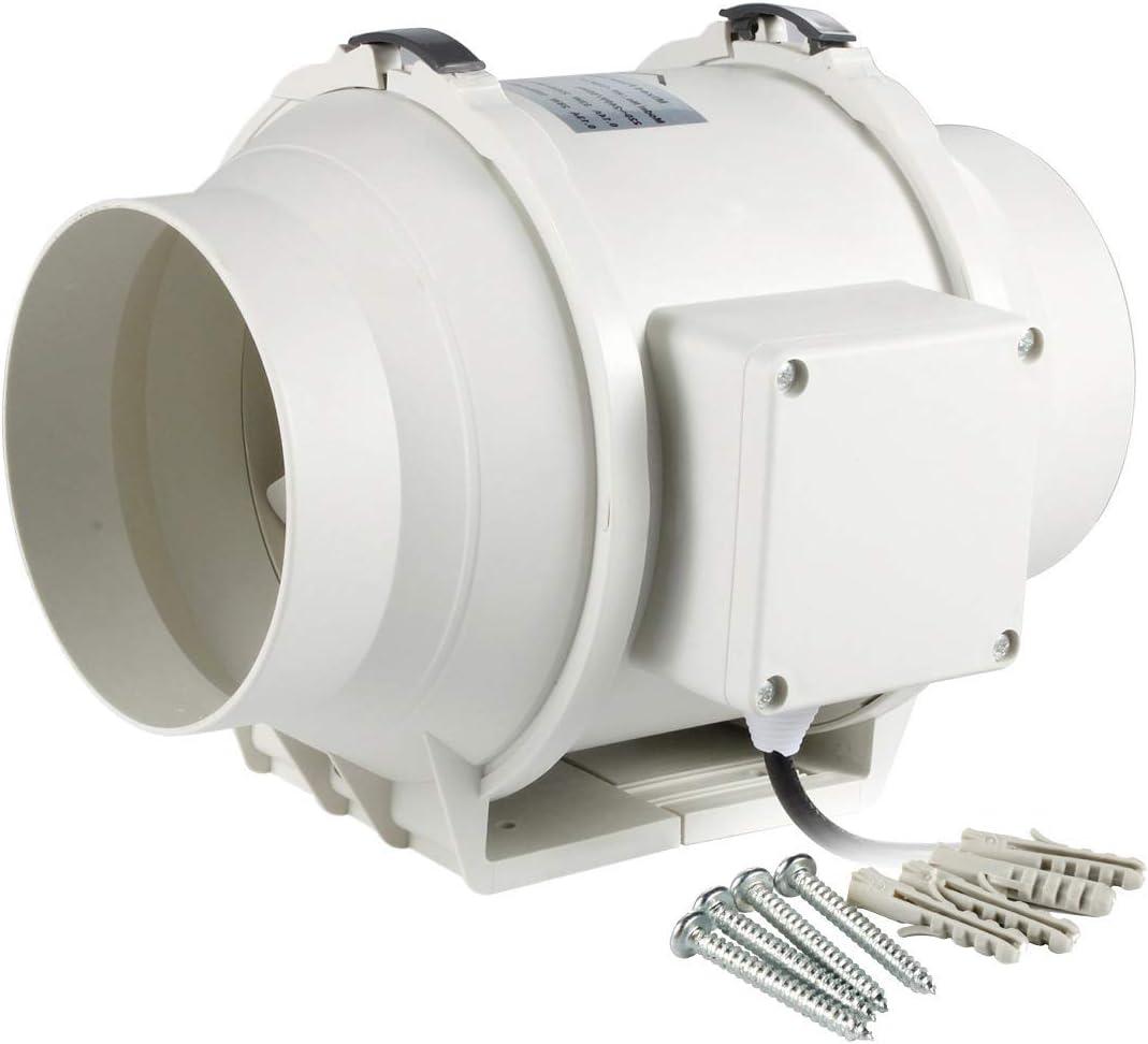 Hon&Guan Ventilador Extractor de Aire en Línea con con Temporizador/Motor de Dos-velocidades para Oficina, Hotel, Baño (ø125mm)