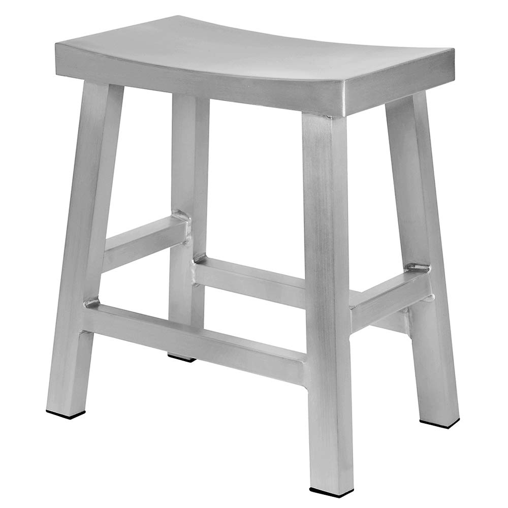 Renovoo Aluminum Saddle Seat Dining Stool, Commercial Quality, Brushed Aluminum Finish, 18 Inch Chair Height, Indoor Outdoor Use, 1 Pack