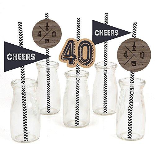 (40th Milestone Birthday - Dashingly Aged to Perfection Paper Straw Decor - Birthday Party Striped Decorative Straws - Set of)