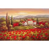 Modern Oil Painting on Canvas Wall Art Home Decoration Italian Tuscany Red Poppy Flower Field Vineyard 20 X 24 Inch