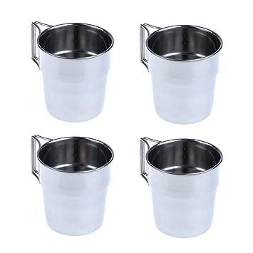 Tubayia 4 Vasos de Agua de Acero Inoxidable con asa Plegable ...