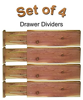 Adjustable & Expandable Drawer Dividers and Organizers for Household Storage, Red Wood Cedar, 4 Pack Set