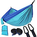 """Kingterence Double Camping Hammock,Portable Parachute Lightweight Nylon Hammock,Hold up to 660LB,With Hammock Tree Straps for Backpacking, Camping, Travel, Beach, Yard. 118""""(L) x 78""""(W) Blue/Sky Blue"""