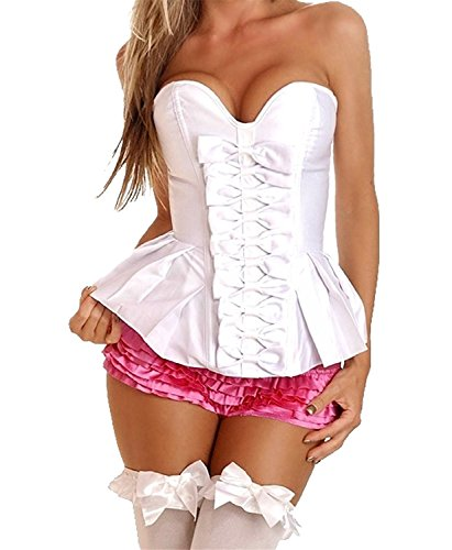 AS503anakla Fashion Women's Satin Bow Body Shaper Strapless Overbust Corset (M, White) (Isso E Halloween)