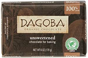 DAGOBA Unsweetened Baking Chocolate Bar (100% Cacao, 6-Ounce, Pack of 5)