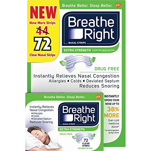 Breathe Rite Strips - Breathe Right Nasal Strips, Extra Clear for Sensitive Skin, 72 Clear Strips