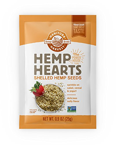 Manitoba Harvest Hemp Hearts Raw Shelled Hemp Seeds, 0.9oz (Pack of 12 Single Serve Packets); with 10g protein& Omegas per serving