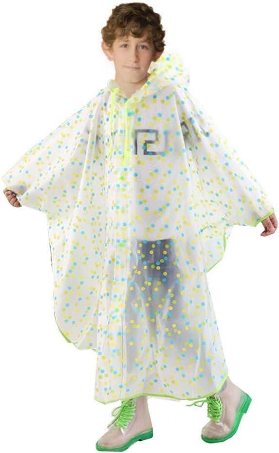 Imagen deSWIHELP Chubasquero Impermeable para Niños, Unisexo niño Impermeable Niñas Niños con Capucha Impermeable de la Lluvia del Poncho.