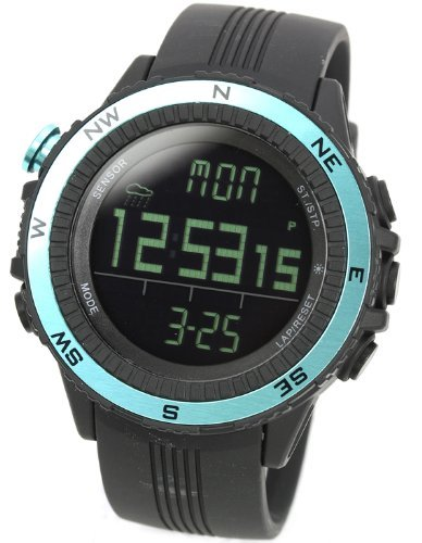[Lad Weather] Watches German Sensor Digital Quartz Compass Altimeter Barometer Chronograph Countdown Timer Lap Time Alarm Outdoor Sport (Climbing/ Hiking/ Running/ Walking/ Camping) Men Women Black Blue by LAD WEATHER