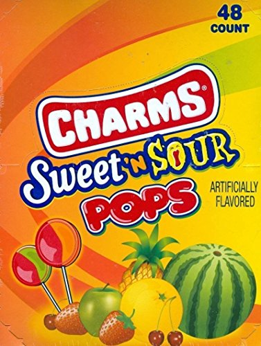 Charm Pops - Sweet and Sour Suckers 48-0.625 oz pops (Sour Sweet Lollipops)