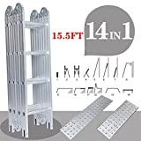 Senrob Multi-Purpose Aluminum Ladder,15.5 FT Telescopic Folding Extendable Step Scaffold Ladder with 2 Platform Plates-Max Weight 330lbs