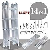 Senrob Multi-Purpose Aluminum Ladder,15.5 FT Telescopic Folding Extendable Step Scaffold Ladder with 2 Platform Plates-Max Weight 330lbs