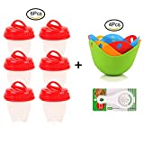 Egg Poacher Cups – Non-Stick Poaching Pods for Cooking Perfect Poached Eggs – Egg Cooker Microwave- Includes Free Gifts With Each Purchase