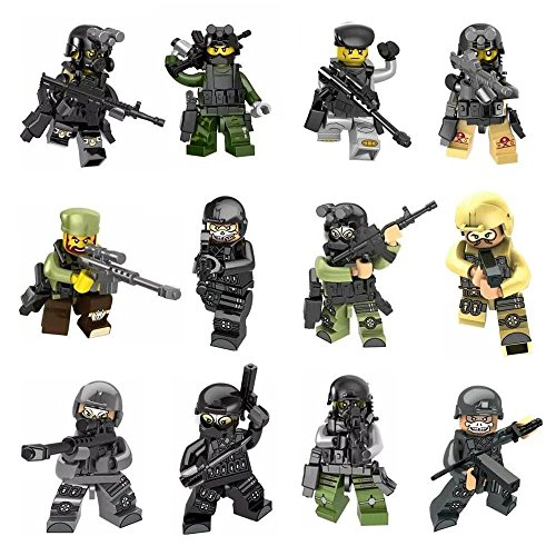 AMEI Minifigures Set - 12pcs Army Minifigures SWAT Team with Military Weapons Accessories Policeman Soldier Minifigures Toys Building Blocks 100% Compatible