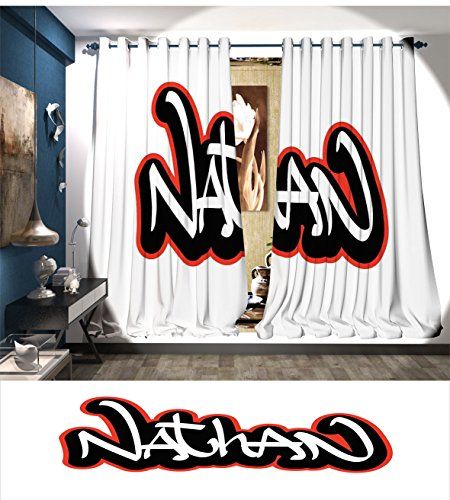 Thermal Nathan (RuppertTextile Nathan Thermal Insulating Blackout Curtain Artistic Boys Name Graffito Wall Writing Design for Men Doodle Style Patterned Drape For Glass Door Vermilion Black and White)