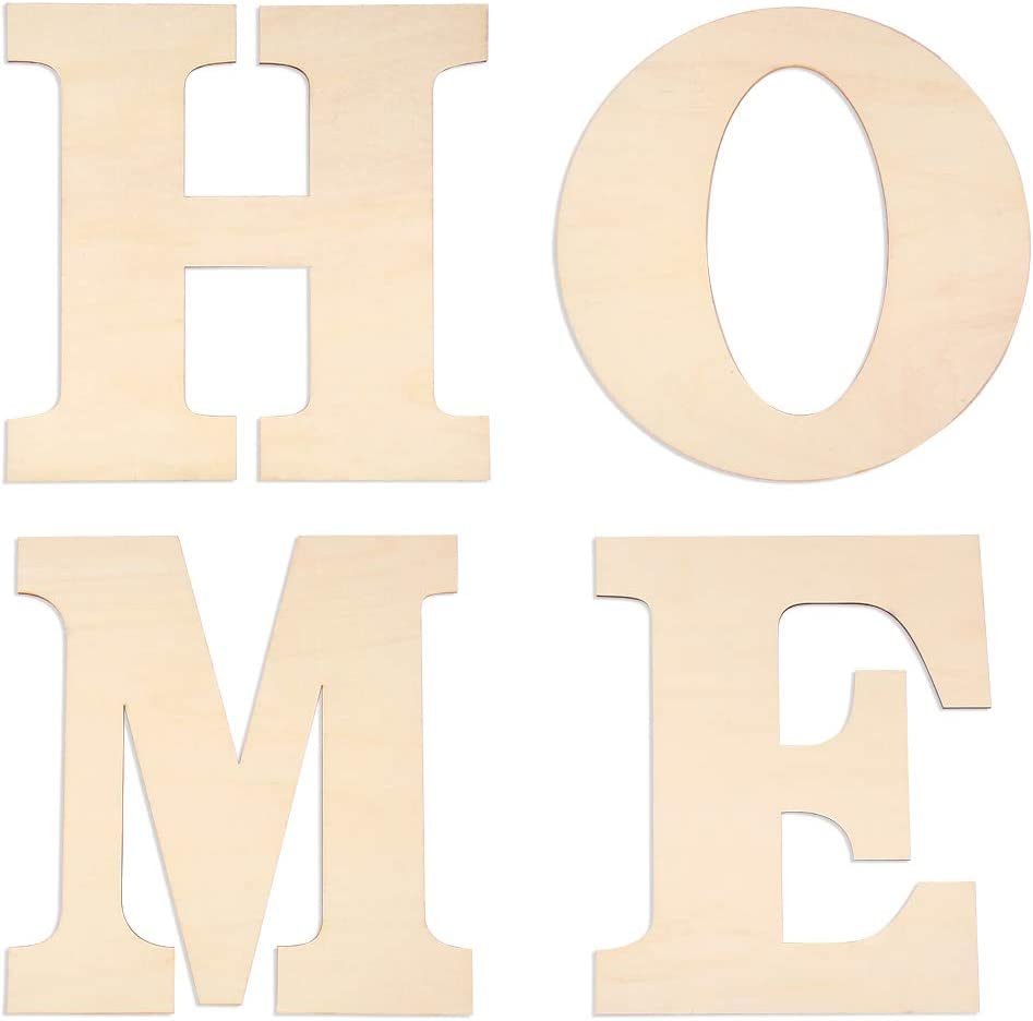 "Caydo 4 Pieces 12 Inch Unfinished Wooden Letters Large ""Home"" for Home Wall Decoration"
