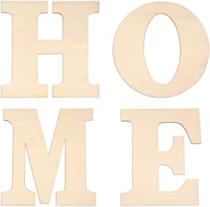 """Caydo 4 Pieces 12 Inch Unfinished Wooden Letters Large """"Home"""" for Home Wall Decoration"""