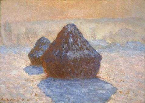 Oil Painting 'Haystacks, White Frost Effect, 1891 By Claude Monet' 18 x 25 inch / 46 x 65 cm , on High Definition HD canvas prints is for Gifts And Kids Room, Kitchen And Powder Room decor, (Premium Sunrise Futon)