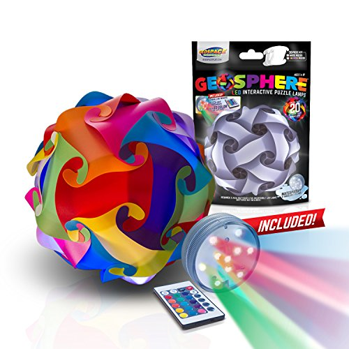 GEOSPHERE 9 Inch - 30 pc Rainbow Colors Lamp Kit Complete with Wireless Smart Colorchanging LED Light