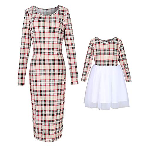 PopReal Mommy and Me Outfits Stretchy Plaid Dresses Long Sleeve Family Matching Outfits Khaki
