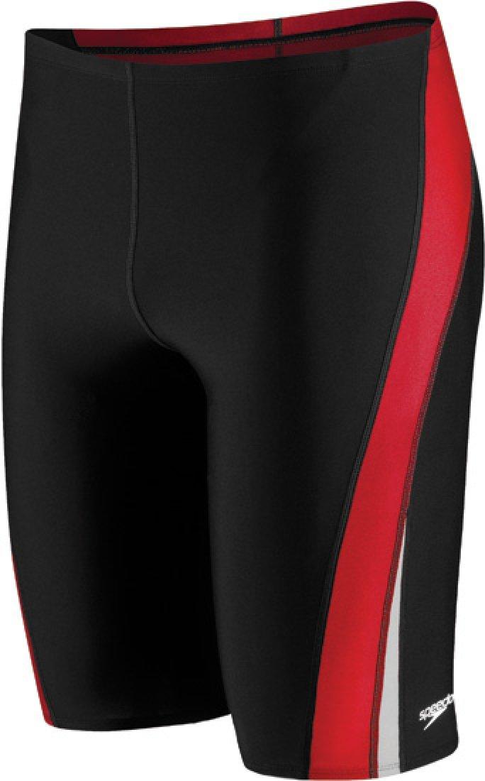 Speedo Men and Boys' Endurance+ Launch Splice Jammer Swimsuit, Black/Red, 22
