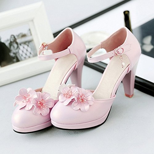 FANIMILA Mujer Elegant Ankle Strap Hebilla Flor Pearl Tacon Ancho Alto Sandalias Rosado