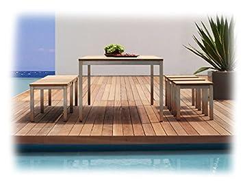 Zebra Naxos Salon de Jardin 5 Pièces avec Table en Teck ...