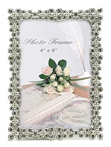 L&T Luxury Metal Picture Frame with Silver Plated and Brilliant Crystals, for 4 x6 inch Photos (Photo Crystal compare prices)
