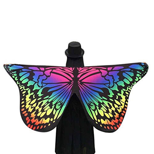 Lonsbo Soft Fabric Butterfly Wings Shawl Fairy Ladies Nymph Pixie Costume Accessory (Multicolor) (Pink Butterfly Adult Wings)
