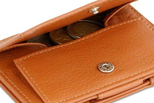 Brown Cognac Garzini Leather Coin Wallet Essenziale Nappa Edition Magic RFID 8AAzrcWqf