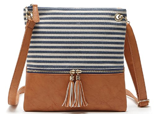 Women's Sannea Crossbody Soft Leather Shoulder Brown blue Purse Bag Small AUwdOvq7U