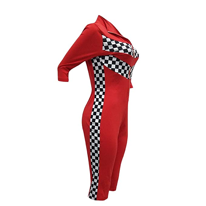 d1959218334b Amazon.com  Fadvanes Womens Bodycon One Piece Outfit Half Sleeve Zip Up  Capri Jumpsuit Rompers Short Pants Checkered Race Print  Clothing