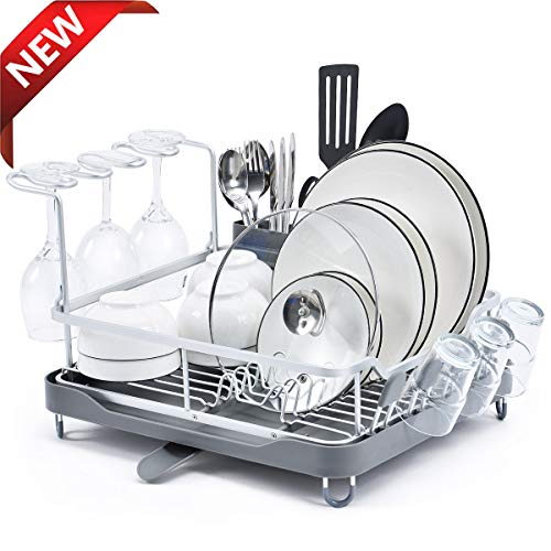 KINGRACK Aluminum Dish Rack, Dish Drying Rack with Anti-Rust Frame, Unique 360° Swivel Spout Drain Board Design, Cutlery Holder, Removable Wine Glass & Cup Holder for Kitchen Countertop, Grey (Aluminum Rust And)