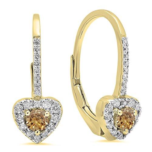 Dazzlingrock Collection 14K 3 MM Each Round Champagne Diamond & White Diamond Ladies Heart Shape Drop Earrings, Yellow ()