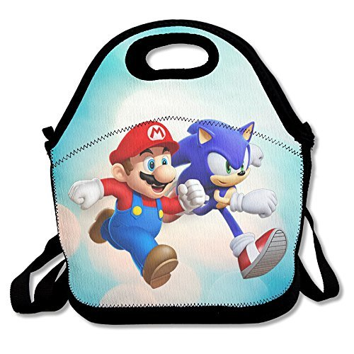 Bakeiy Super Mario And Hedgehog Lunch Tote Bag Lunch Box Neoprene Tote For Kids And Adults For Travel And Picnic (Pixar Halloween Film)