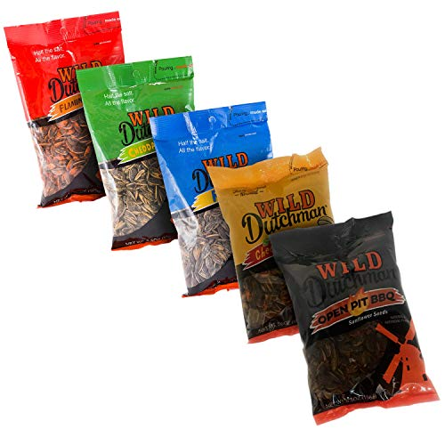 Wild Dutchman Sunflower Seeds Variety Pack - Flamin Bacon, Cheddar Dill, Ranch, Spicy Cheeseburger, Open Pit BBQ (5.5 oz/Pack of 5) (Bacon Salt Sunflower Seeds)