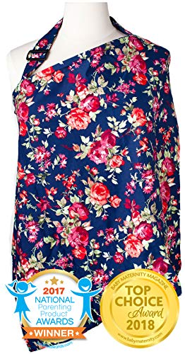 Nursing Cover with Sewn in Burp Cloth for Breastfeeding Infants | Free Matching Pouch- Best Apron Cover Up for Breast Feeding Babies | Covers Up Newborns in Public | Patented- Vintage Navy Floral