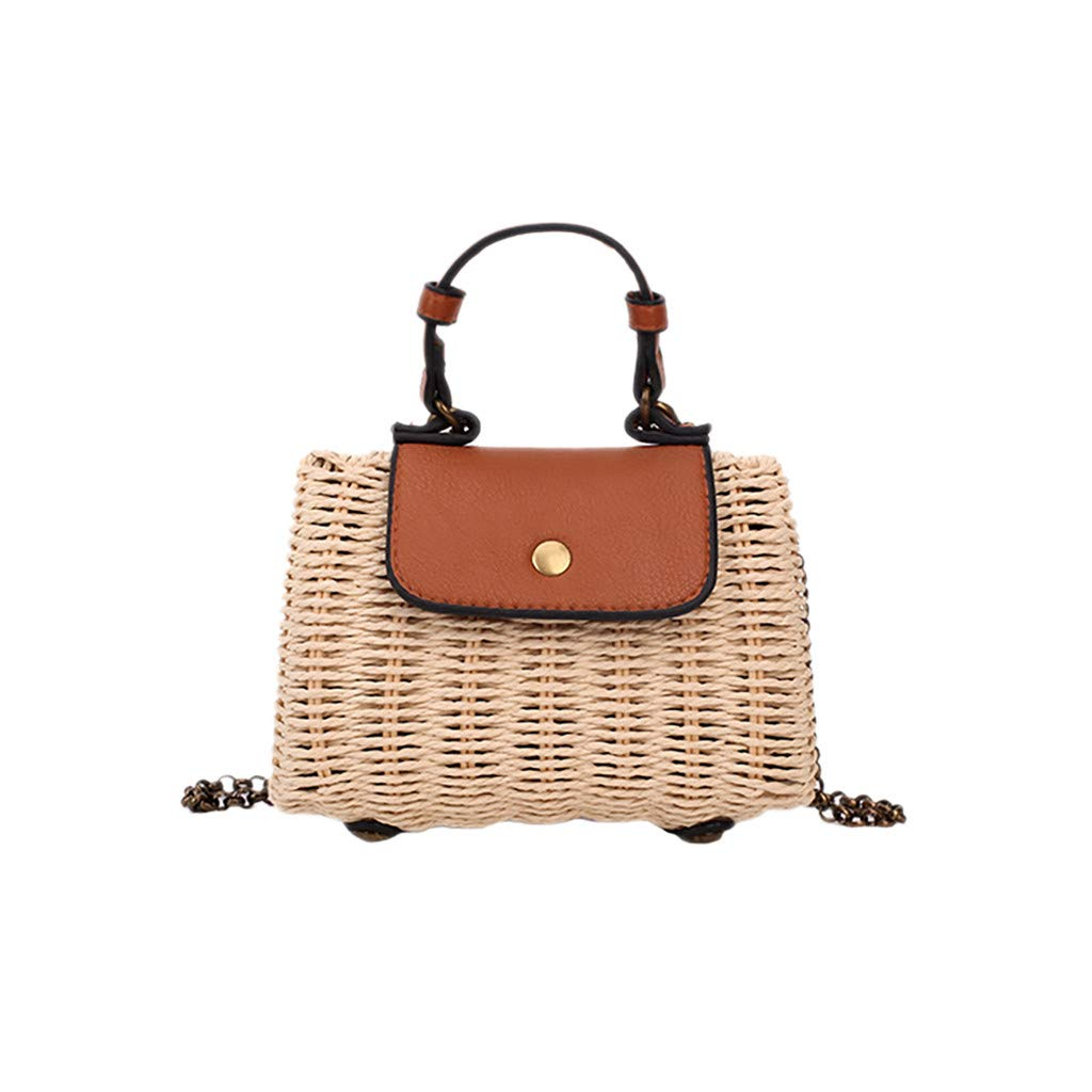 Straw Crossbody Bag - Ladies Trendy Stylish Chain Strap Square Shoulder Purse - Summer Beach Hand Woven Satchel for School Travel Daily (Brown)