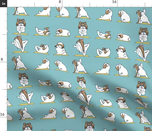 Spoonflower Shih Tzu Yoga Down Dog Kawaii Fabric - Yoga Dogs Puppy Love Yoga Gym Om Fitness Workout Shih Tzu Print on Fabric by The Yard - Fleece for Sewing Blankets Loungewear and No-Sew Projects ()