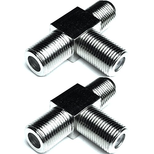 2 Pack CESS F-Type Female to Dual Female - T Type 3 Way RF Coax connector - F 3-Female (Cable Tee)
