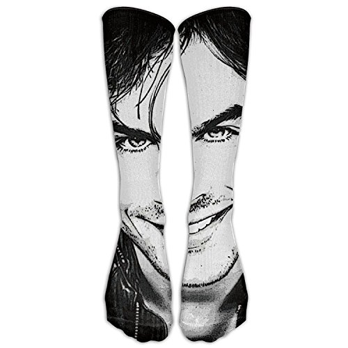 (SADDFAWW Ian Somerhalder Handsome Cool Sketch Women Tube Knee Thigh High Stockings Cosplay)