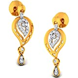 JewelsForum 14Kt Yellow Gold Drop Dangler Diamond Earrings 0.32 Carat TCW