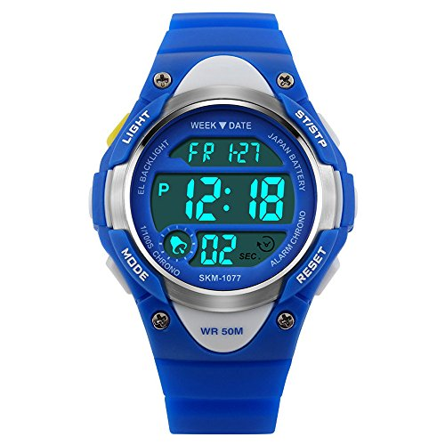 Children Watch Outdoor Sports Kids Boy Girls LED Digital Alarm Waterproof Wristwatch Blue