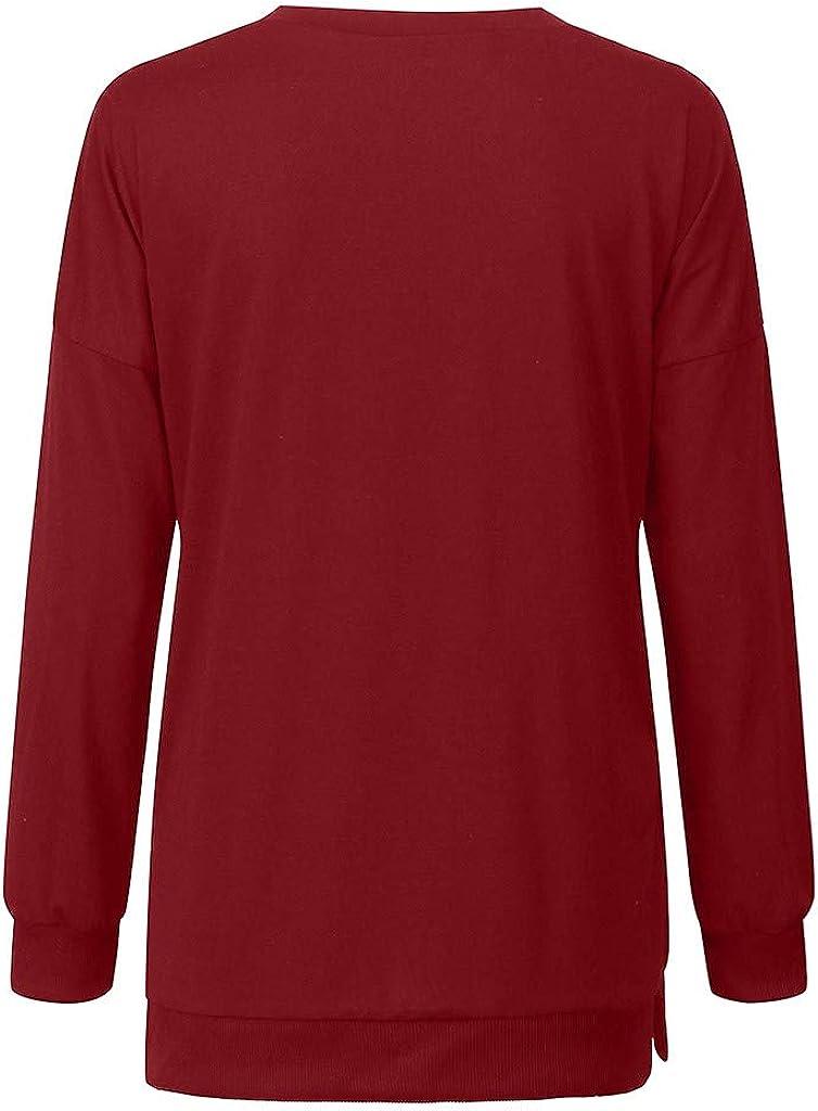 Camiseta de maternidad Primavera Premaman Ropa Dise/ñadores sueltos Top Lactancia Jersey Color liso Elegantes 2XL