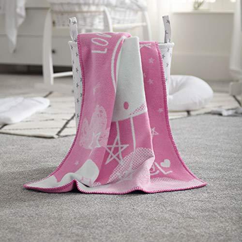 Clair de Lune Fleece Baby Blanket, Pink, Over The Moon CL6107PK