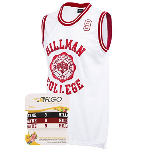 AFLGO Hillman College #9 Dwayne Wayne Basketball Jersey S-XXXL White, 90s Clothing Throwback Costume Athletic, Top Bonus Combo Set with Wristbands